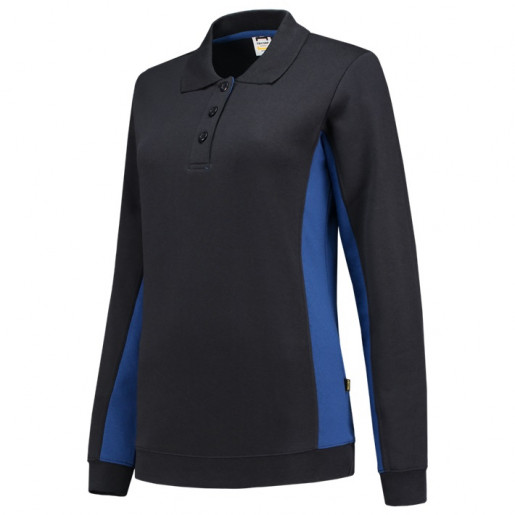 Dames Polosweater Bi-Color zwart blauw.jpg1