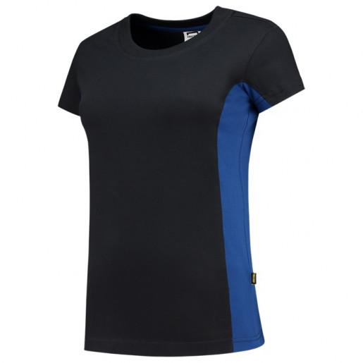 Dames T-shirt Bi-Color zwart blauw.jpg1